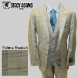 75. STACY ADAMS TAN/BLUE WINDOWPANE VESTED Thumbnail