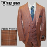 74. STACY ADAMS RUST/BLUE WINDOWPANE VESTED Thumbnail