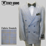 49.STACY ADAMS BLUE/TAN PLAID DOUBLE BREASTED Thumbnail