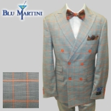 92. GREY/ORANGE WINDOWPANE DOUBLE BREASTED Thumbnail
