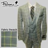 73. FALCONE GREEN/GREY PLAID VESTED SUIT Thumbnail