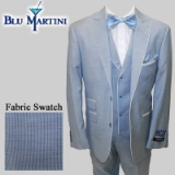 S26. BLUE PINSTRIPE LINEN BLEND VESTED SUIT Thumbnail