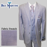 S27. PURPLE PINSTRIPE LINEN BLEND VESTED SUIT Thumbnail
