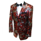 39. RED/BLACK FLORAL SEQUIN SPORTCOAT Thumbnail
