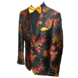 44. BLACK/RED FLOWER SHAWL LAPEL SPORTCOAT Thumbnail