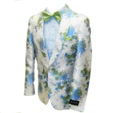45. WHITE/BLUE FLOWER SHAWL LAPEL SPORTCOAT Thumbnail