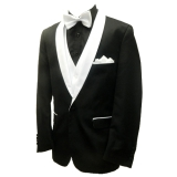 31. BLACK SOLID / WHITE SHAWL LAPEL SPORTCOAT Thumbnail