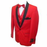 32. RED SOLID / BLACK SHAWL LAPEL SPORTCOAT Thumbnail