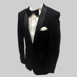 11. BLACK/BLACK SHAWL LAPEL STRETCH FABRIC Thumbnail