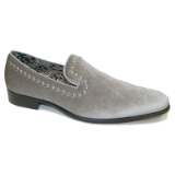 14. STONE GREY VELVET SHOE WITH SILVER STUDS Thumbnail