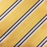 C130. YELLOW/WHITE/BLACK STRIPE TIE&HANKY SET Thumbnail