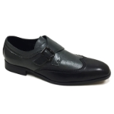 16. BLACK/GREY 2 TONE WING TIP BUCKLE SHOE Thumbnail