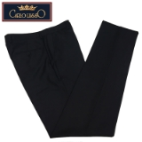 01. CARLO LUSSO BLACK SOLID FLAT FRONT PANTS Thumbnail