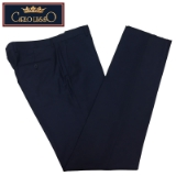 05. CARLO LUSSO BLUE SOLID FLAT FRONT PANTS Thumbnail
