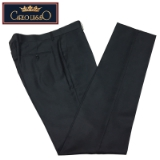 02.CARLO LUSSO CHARCOAL SOLID FLAT FRONT PANT Thumbnail