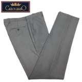 03.CARLO LUSSO LT.GREY SOLID FLAT FRONT PANTS Thumbnail