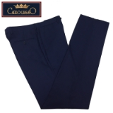 06.CARLO LUSSO INK BLUE SOLID FLAT FRONT PANT Thumbnail