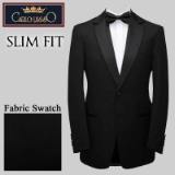 02. BLACK SOLID SATIN NOTCH LAPELS SLIM FIT Thumbnail