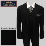 49. BLACK SOLID VESTED 2-BUTTON SUIT Thumbnail
