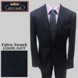 27. NAVY HERRINGBONE 2 PIECE 2-BUTTON SUIT Thumbnail