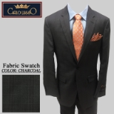 18. CHARCOAL/BURGUNDY PLAID 2PC 2-BUTTON SUIT Thumbnail