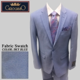 42. SKY BLUE TIC WEAVE 2 PIECE 2-BUTTON SUIT Thumbnail