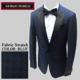02. BLUE JACQUARD CHECK SATIN PEAK LAPELS Thumbnail