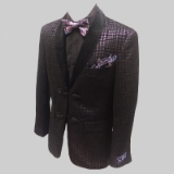 23. PURPLE METALIC CHECK VELVET PARTY SPCT Thumbnail