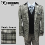 76. BLACK/WHITE PLAID COMPOSEE VESTED SUIT Thumbnail