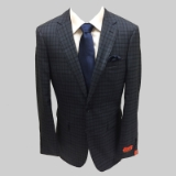 48. ENZO 100% WOOL BLUE/GREY PLAID SPORTCOAT Thumbnail