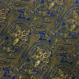 C121. GOLD/ROYAL BLUE PAISLEY TIE & HANKY SET Thumbnail