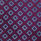 C090. PURPLE/BLUE RHOMBUS TIE&HANKY SET Thumbnail