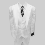 WHITE SOLID VESTED BOY SUIT Thumbnail
