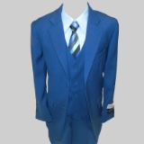 BLUE SOLID VESTED BOY SUIT Thumbnail