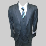 CHARCOAL SOLID VESTED BOY SUIT Thumbnail