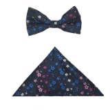 D080. NAVY/PINK SMALL FLOWERS BOWTIE&HANKY Thumbnail