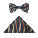 BROWN/MULTI STRIPE BOW TIE SET Thumbnail