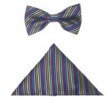 BLUE/MULTI STRIPE BOW TIE SET Thumbnail