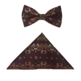 BURGUNDY PAISLEY BOW TIE SET Thumbnail
