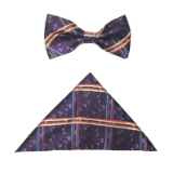 PURPLE PLAID BOW TIE SET Thumbnail
