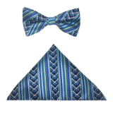 TURQUOISE STRIPE BOW TIE SET Thumbnail