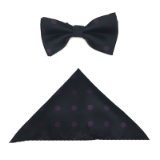 BLACK/PURPLE DOT BOW TIE SET Thumbnail