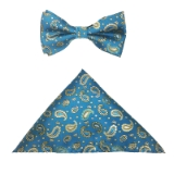 TEAL/GOLD PAISLEY BOW TIE SET Thumbnail