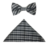 BLACK/WHITE PLAID BOW TIE SET Thumbnail