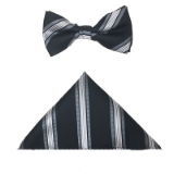 BLACK/WHITE STRIPE BOW TIE SET Thumbnail