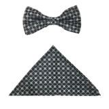 BLACK/WHITE WEAVE BOW TIE SET Thumbnail