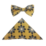 D166. YELLOW/BLUE BIG FLOWERS BOWTIE&HANKY Thumbnail