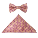 D145. LIGHT PINK/GOLD PAISLEY BOWTIE&HANKY Thumbnail