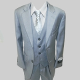 LT GREY SOLID VESTED BOY SUIT Thumbnail