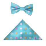 TEAL/MULTI BIG DOT BOWTIE SET Thumbnail